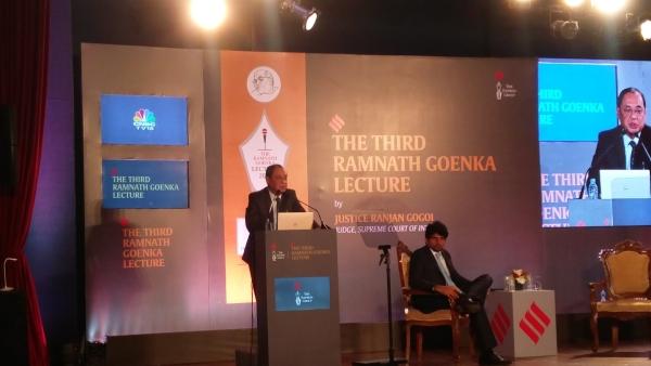 Justice Gogoi delivers the third Ramnath Goenka Lecture at Teen Murti Bhavan, New Delhi