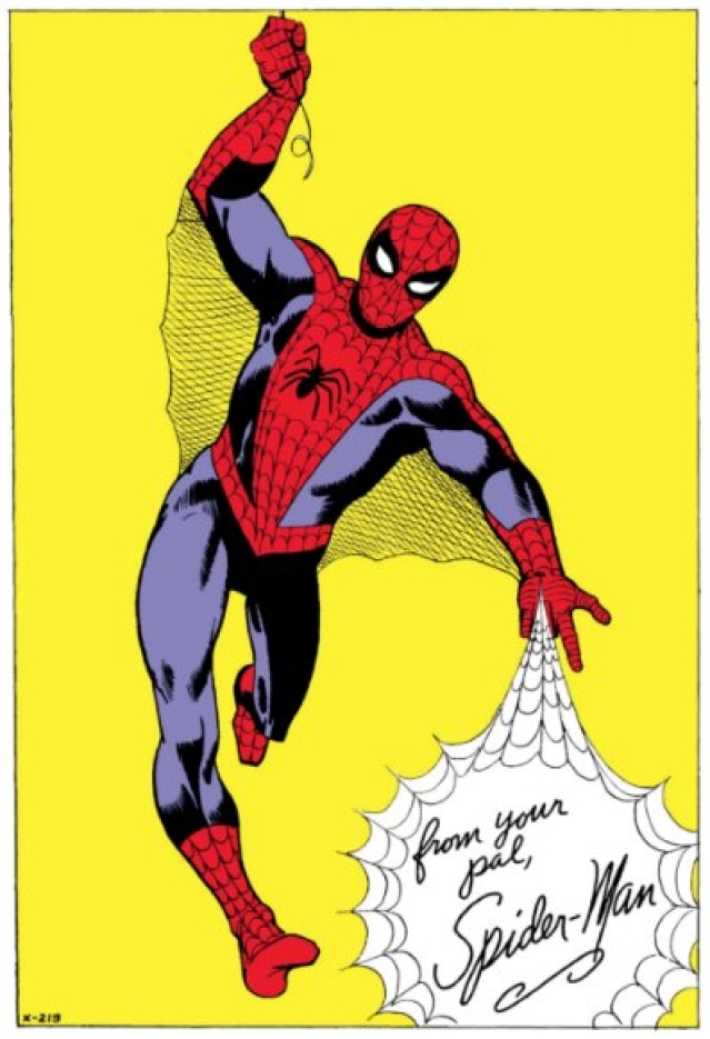 The look of Spider-Man -- the costume, the web-shooters, the red and blue design -- all came from Ditko.