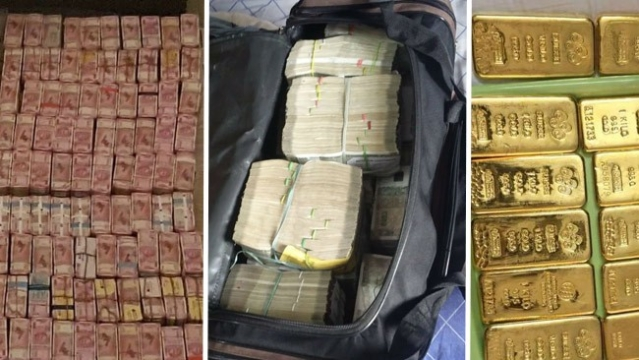 Cash and gold bullion recovered in raid at Nagarajan Seyyandurai's properties