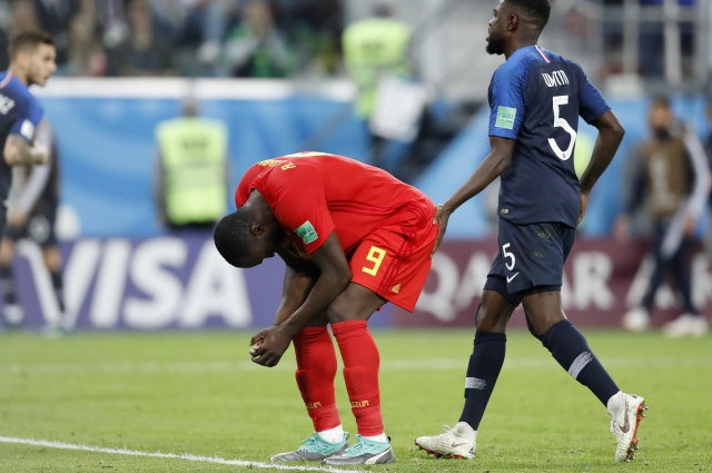 Belgium's Romelu Lukaku reacts after missing a scoring chance during the semifinal match between France and Belgium at the 2018 FIFA World Cup in the St. Petersburg Stadium, in St. Petersburg, Russia.