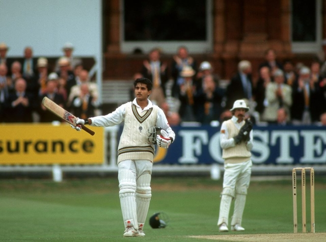 Sourav Ganguly made 131 on his Test debut at Lord's.