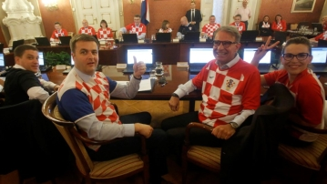 Members of the Croatian cabinet in the national football team's jerseys.