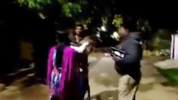 A 33-second clip of the crime shows the accused Shiva Goud, who was drunk, ambling out with his toddler, who struggles to get out of his grip.
