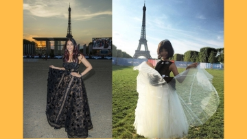 Aishwarya Rai Bachchan and Aaradhya pose near the Eiffel Tower.