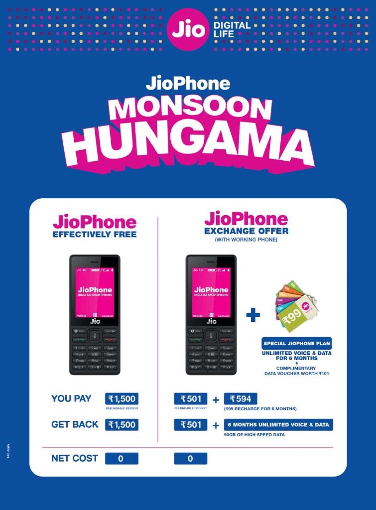 Reliance Jio Monsoon HUngama Offer: Reliance Jio Launches