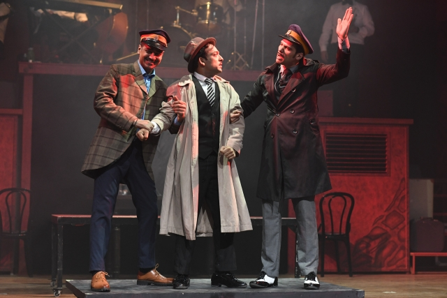Sukant Goel, Neil Bhoopalam and Gagan Dev Riar in a still from the play.