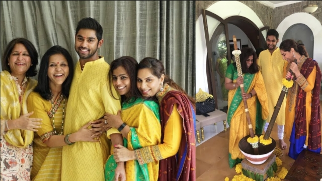 The women in the Reddy family pampering the groom, Anindith during his <i>haldi</i> ceremony.