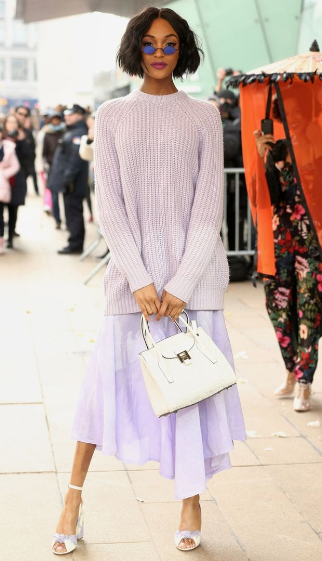 27-year-old model Jourdan Dunn, showcased lilac from head-to-toe at the Michael Kors Autumn Winter 2018 show.