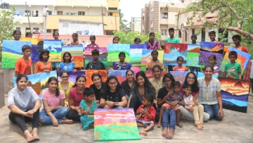 Children from SIP Memorial Trust, dazzle with their paintings at 'Outside The Lines', an art expo by Maisha Studio.