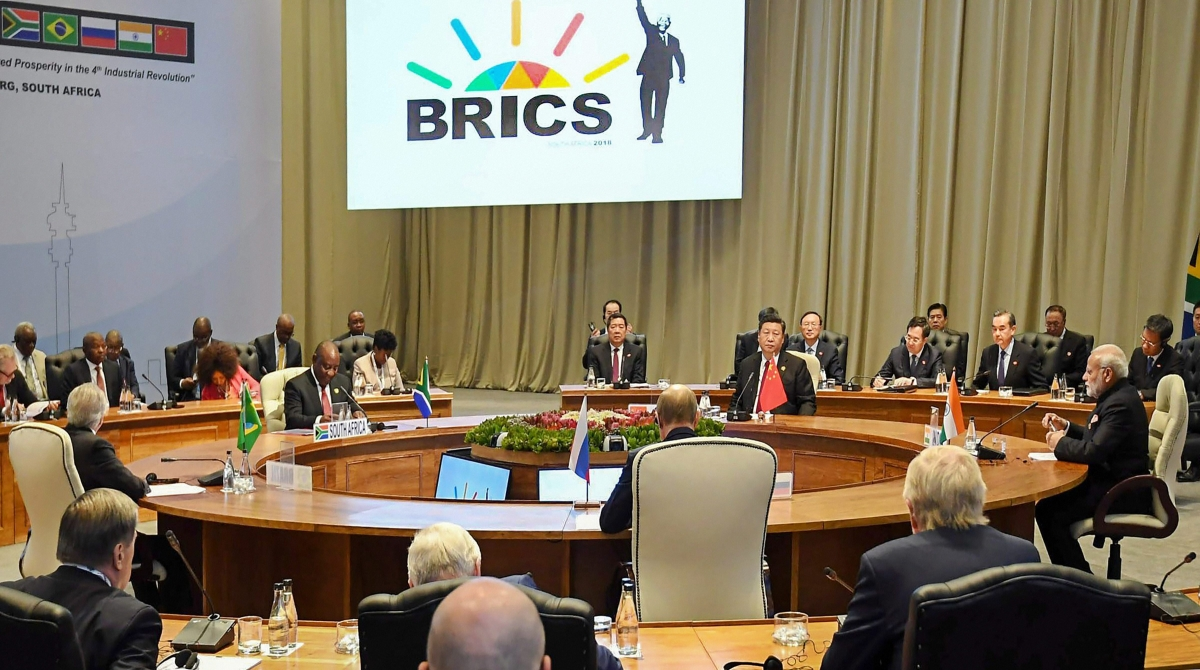 Prime Minister Narendra Modi and other BRICS leaders at their Restricted Session at the BRICS summit in Johannesburg, South Africa on 26 July.