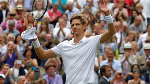 South Africa's Kevin Anderson celebrates defeating USA's John Isner in the semi-final of Wimbledon.