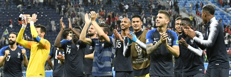 11d3bf0024d French players acknowledge their fans after their team advanced to the  final during the semifinal match