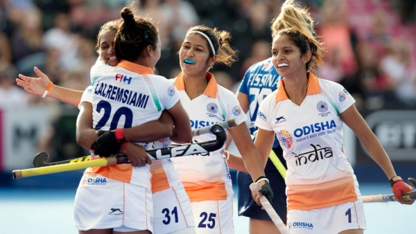 Indian Women's Hockey team celebrate their first goal against Italy.