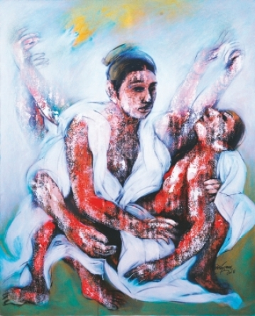 Artwork on the female form by contemporary artist Mrinmoy Barua.