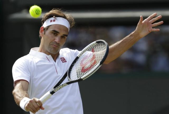 Roger Federer in action.