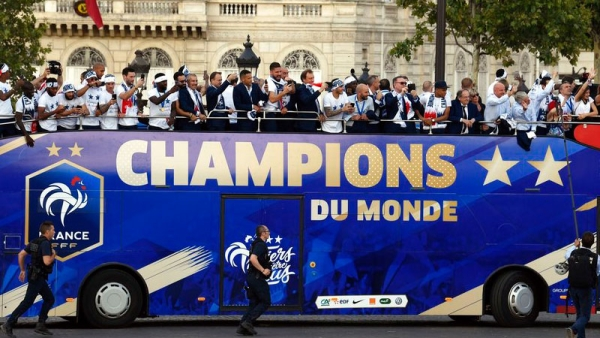 France Celebrate World Cup Victory With an Open Top Bus in Paris