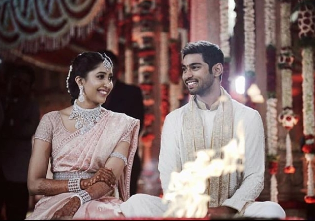 Shriya Bhupal and Anindith Reddy during their <i>phera</i> ceremony.