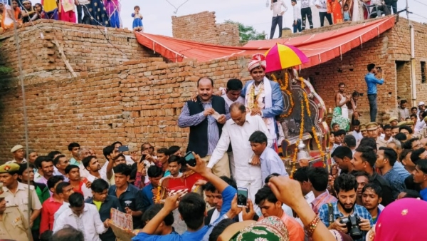 Dalit groom Sanjay's wedding procession taken out amid heavy security in Uttar Pradesh's Nizampura.