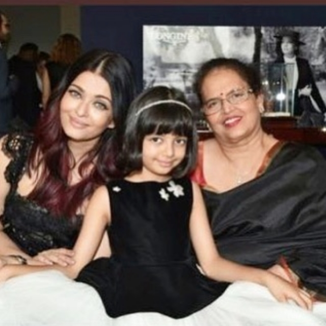 Aishwarya Rai with mom Vrinda and daughter Aaradhya.
