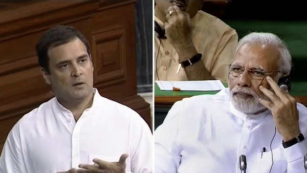 Rahul Gandhi and PM Modi in the parliament.