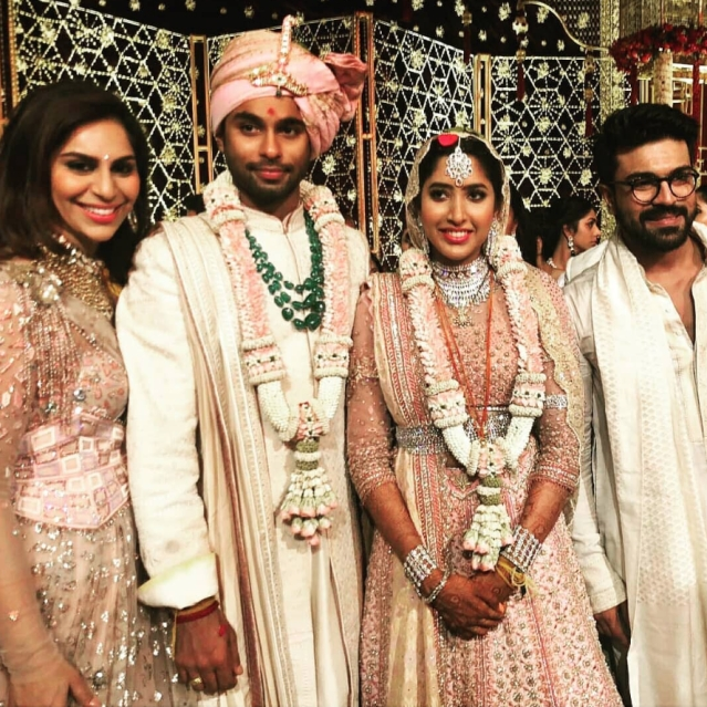 Ramcharan and wife Upasana along with the newly married couple.