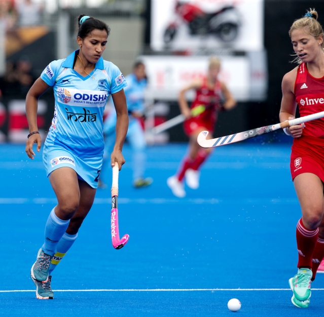 Rani Rampal during India's opening match of the Women's Hockey World Cup against England.