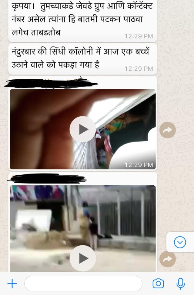 WhatsApp messages and videos claiming to be of child kidnappers.
