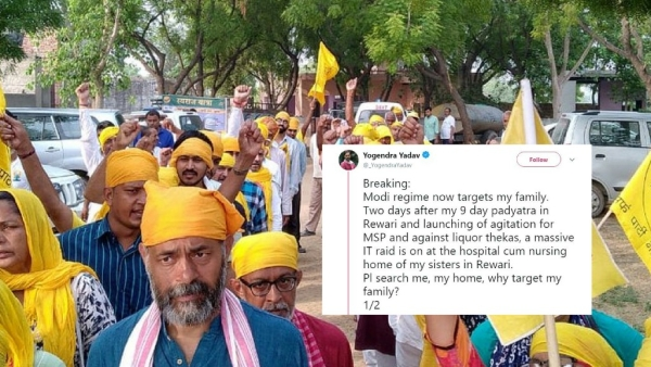 Swaraj Abhiyan founder Yogendra Yadav had taken a nine-day <i>padyatra </i>in Rewari, Haryana for MSP and against liquor <i>thekas </i>just two days before the raids.
