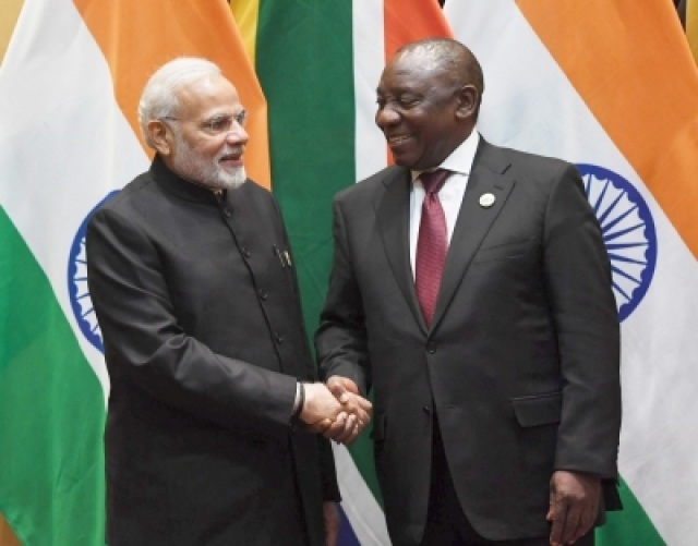 Johannesburg: Prime Minister Narendra Modi in bilateral meeting with South African President Cyril Ramaphosa on the sidelines of the BRICS Summit in Johannesburg, SA.