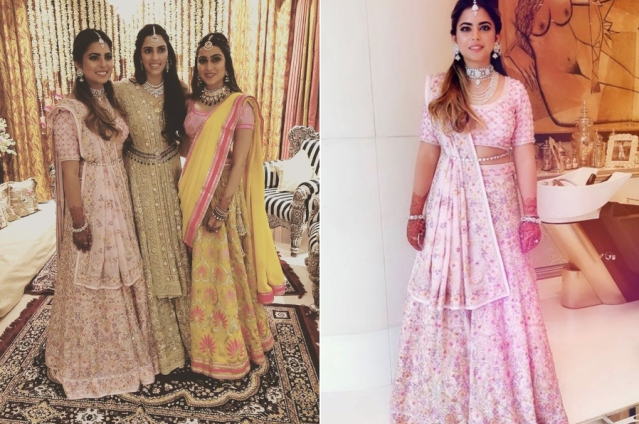 Shloka Mehta was spotted in a decadent gold lehenga, with her soon-to-be sister-in-law Isha Ambani and sister Diya Mehta Jatia for her pre-engagement <i>sangeet</i>. Isha and Diya also wore beautiful Abu Jani Sandeep Khosla ensembles.