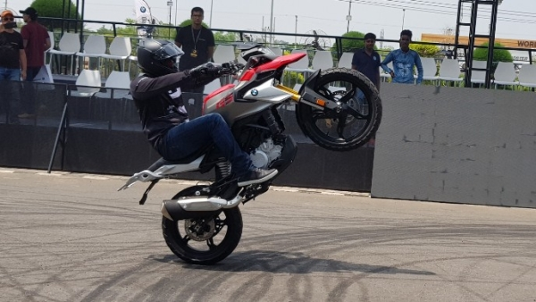 The BMW G310 GS pulls a wheelie. For a 313 cc single-cylinder bike, it appears pretty nimble.
