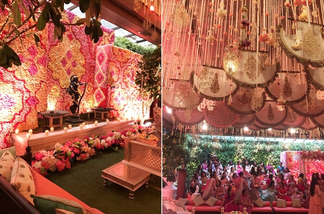The decor setup at the Ambani residence.