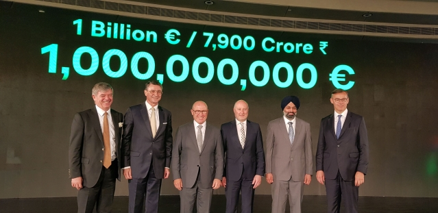 Skoda Auto management team announcing the 1 billion euro investment in India.