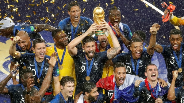 The French team celebrate after winning the FIFA World Cup final against Croatia on July 15.