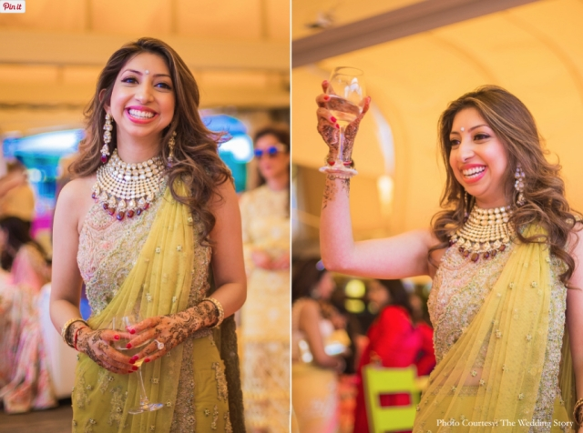 That time when you raise a toast, Tanya looks gorgeous in a lime green outfit for her <i>mehendi</i>.
