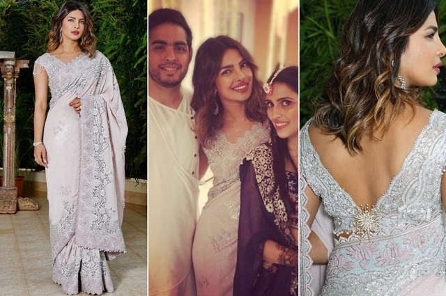 Priyanka Chopra nailed her look as she dropped by for Akash and Shloka's mehendi.