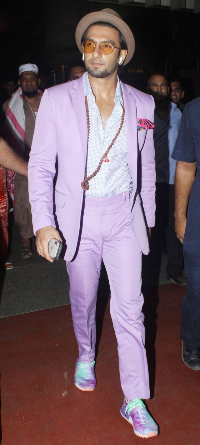 Ranveer Singh donned an all lavender suit for one of his public appearances recently.