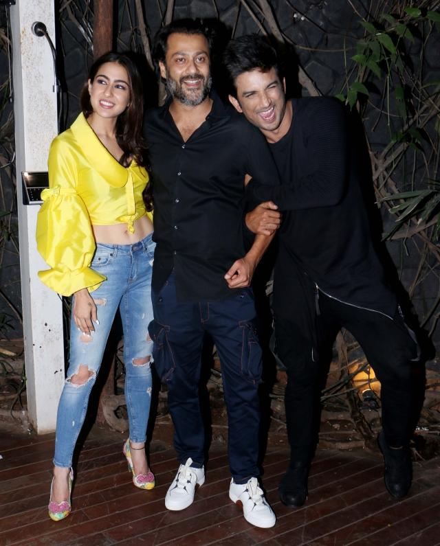 Sara Ali Khan with director Abhishek Kapoor and Sushant Singh Rajput.