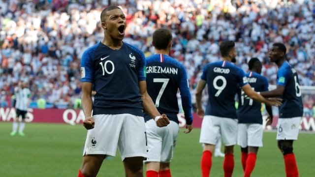 Mbappe scored two goals for France in the second half against Argentina.