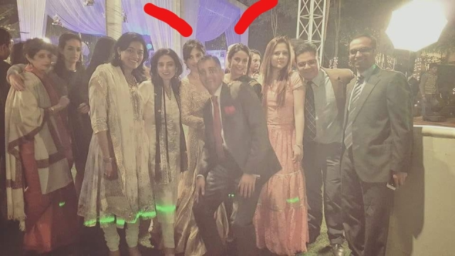 Anissia (beneath first red line), Gul (beneath second red line) at Anissia's wedding.