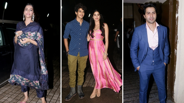 Stars at the screening of <i>Dhadak.</i>