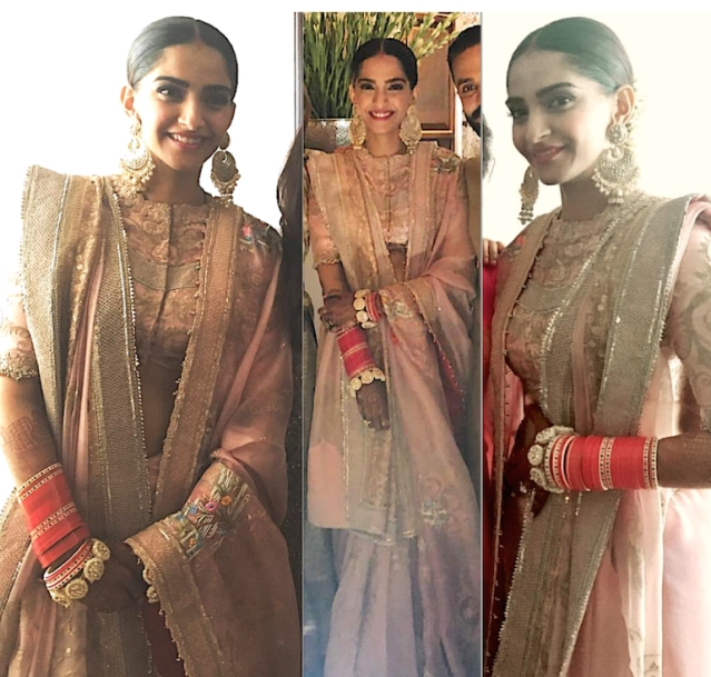 Sonam changed into a blush pink <i>lehenga</i> designed by Anamika Khanna after the main wedding ceremony.