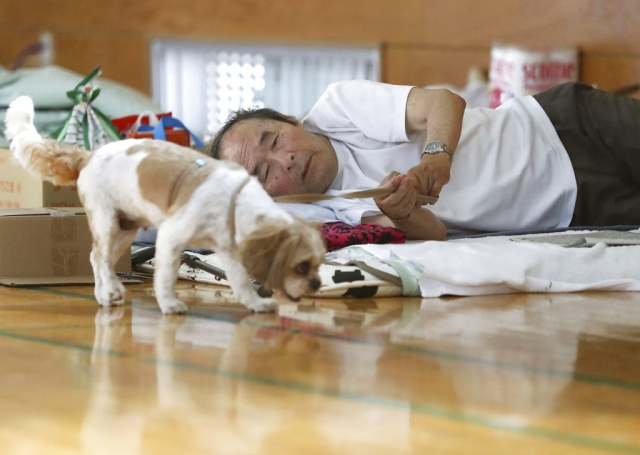 An evacuee lies on a bed while watching his pet dog at an evacuation center in Soja, Okayama prefecture, southwestern Japan, on Tuesday, 10 July.