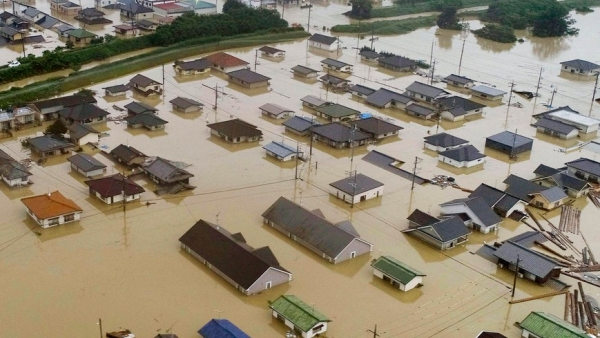Flooded residential areas in Kurashiki, Okayama prefecture, western Japan.