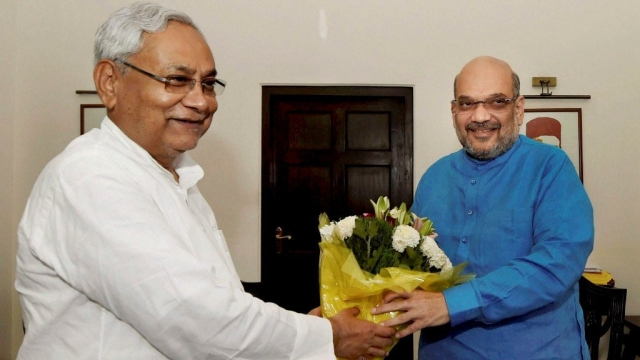 File photo of Amit Shah with Nitish Kumar.