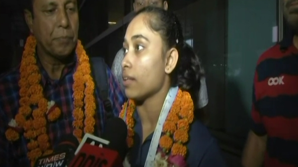 Dipa Karmakar speaks to the media upon her return to India after winning gold medal in the vault event at the Artistic Gymnastics World Challenge Cup.
