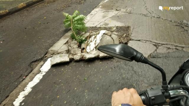 A manhole cover caved in at Airoli, Navi Mumbai.