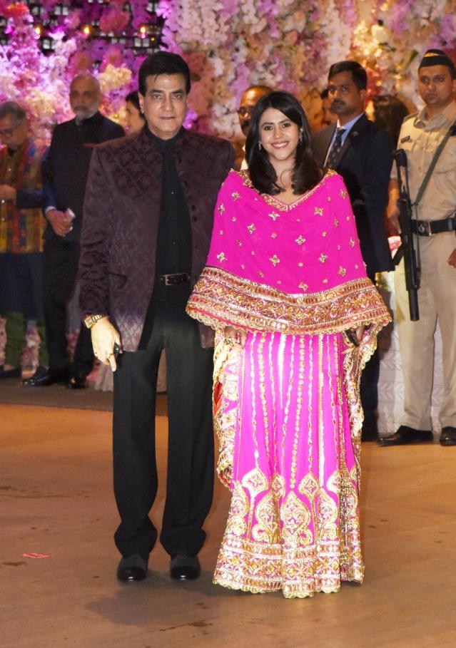 Jeetendra and Ekta Kapoor pose for shutterbugs.