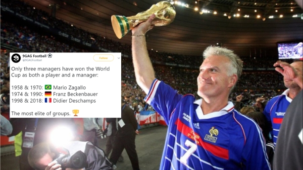 The 49-year-old Didier Deschamps joined Mario Zagallo and Franz Beckenbauer as the only men to play for and coach a world champion.
