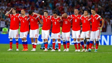 Russian players react after the quarter-final match against Croatia.